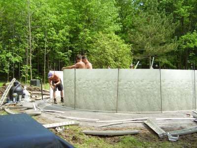 Above Ground Pool Installation of Wall